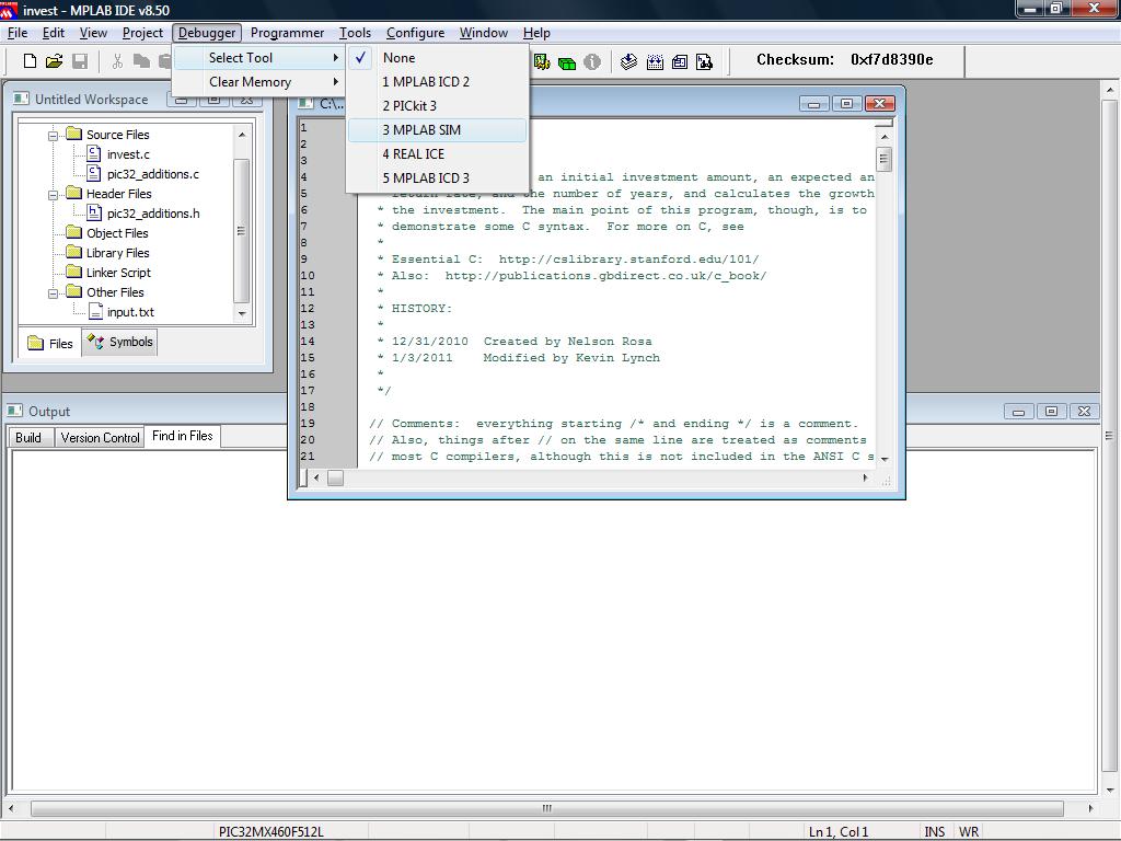 NU32v2: Using the Simulator - Northwestern Mechatronics Wiki