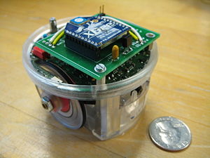 Image of an e-Puck with the RGB Xbee Extension Board